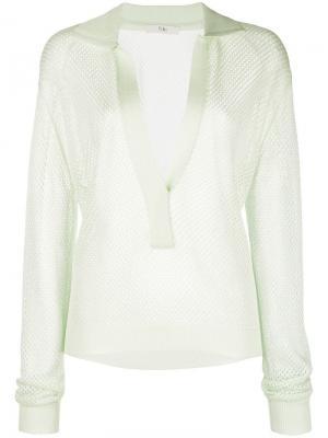 Сетчатый свитер с воротником-поло Tibi. Цвет: зеленый