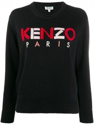 Свитер с круглым вырезом и фактурным логотипом Kenzo. Цвет: черный
