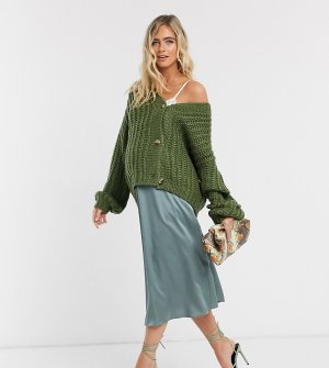 Зеленая атласная юбка миди ASOS DESIGN Maternity-Зеленый Maternity