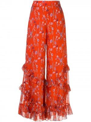 Расклешенные брюки Faizel Alexis. Цвет: красный