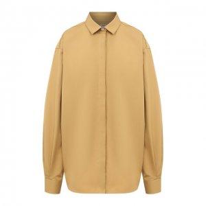 Хлопковая рубашка Totême. Цвет: коричневый