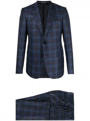 Клетчатый костюм с однобортным пиджаком Emporio Armani. Цвет: синий