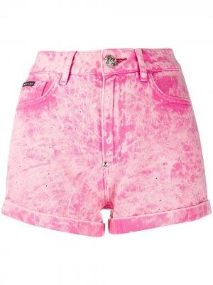 Джинсовые шорты из вареного денима Philipp Plein. Цвет: розовый