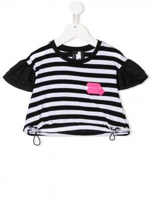 Полосатая футболка с короткими рукавами Cinzia Araia Kids. Цвет: черный
