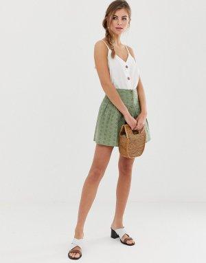 Ажурная мини-юбка на пуговицах -Зеленый ASOS DESIGN