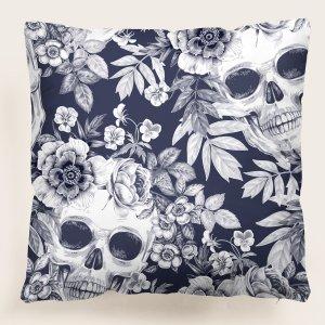 Чехол для подушки без наполнителя череп & с цветочным принтом SHEIN. Цвет: многоцветный