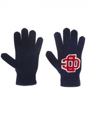 Перчатки с вышитым логотипом Dsquared2. Цвет: синий