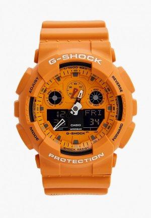 Часы Casio G-SHOCK GA-100RS-4AER. Цвет: оранжевый