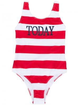 Полосатый купальник Today Alberta Ferretti Kids. Цвет: красный