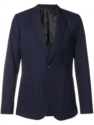 Пиджак на двух пуговицах с частичной подкладкой AMI. Цвет: синий