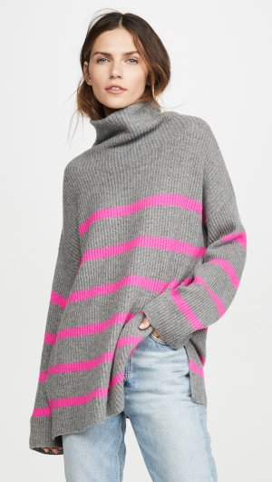 Breton Stripe Funnel Neck Cashmere Sweater Autumn