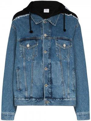 Джинсовая куртка оверсайз с капюшоном Vetements. Цвет: черный