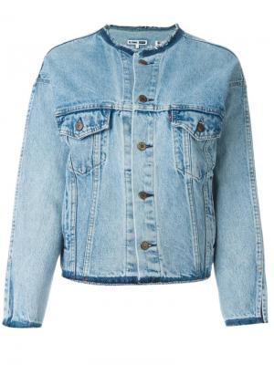 Джинсовая куртка с воротником-стойкой Re/Done. Цвет: синий