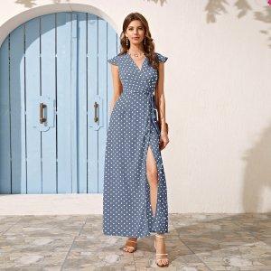 Платье на запах с коротким рукавом SHEIN. Цвет: пыльно-синий