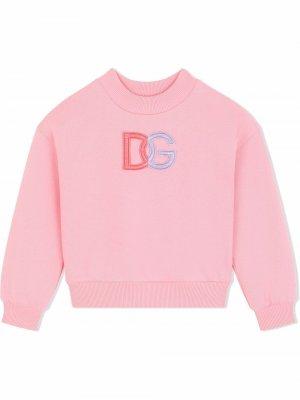 Толстовка с нашивкой-логотипом Dolce & Gabbana Kids. Цвет: розовый