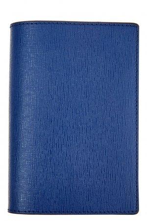 Кожаная обложка на паспорт Canali. Цвет: синий