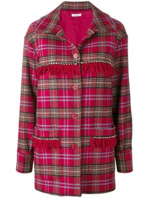 Пальто в клетку тартан с бахромой P.A.R.O.S.H.. Цвет: красный