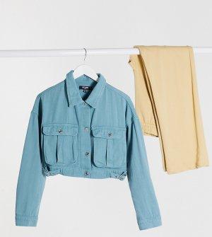 Синяя укороченная джинсовая куртка с пряжками -Серый Missguided Tall