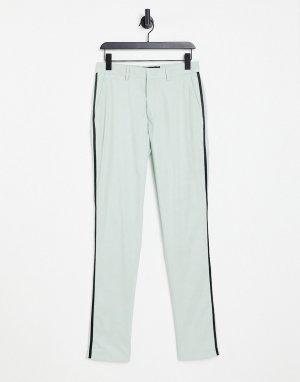 Зеленые зауженные брюки под смокинг -Зеленый цвет ASOS DESIGN