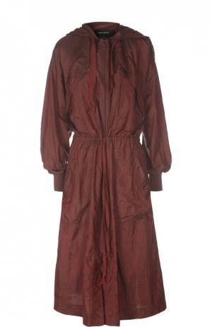 Удлиненная куртка-ветровка с поясом Isabel Marant. Цвет: бордовый