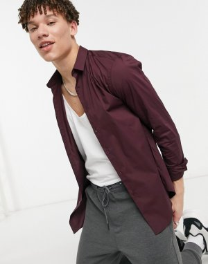 Обтягивающая поплиновая рубашка бордового цвета с длинными рукавами -Красный New Look