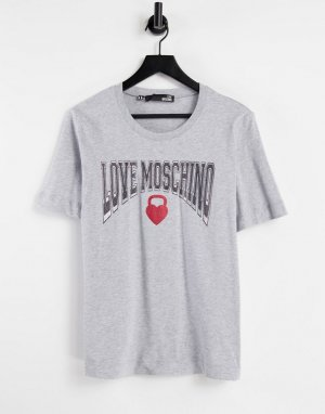 Серая футболка с логотипом -Серый Love Moschino