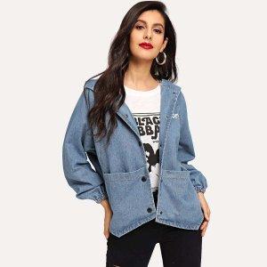 Джинсовая куртка с капюшоном и текстовым принтом SHEIN. Цвет: синий