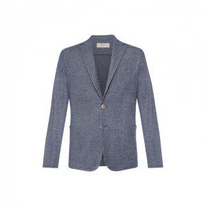 Пиджак из смеси льна и хлопка Altea. Цвет: синий
