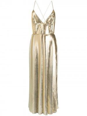 Коктейльное платье с плиссировкой Valentino. Цвет: золотистый