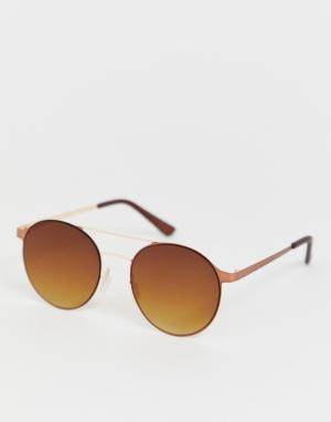 Круглые солнцезащитные очки золотистого цвета -Золотой River Island