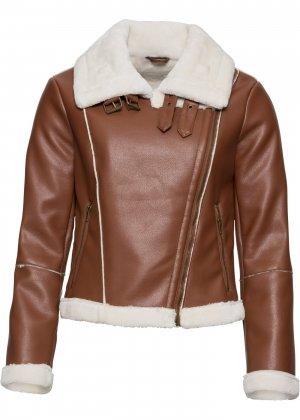 Куртка байкерская с искусственным мехом bonprix. Цвет: корич-невый