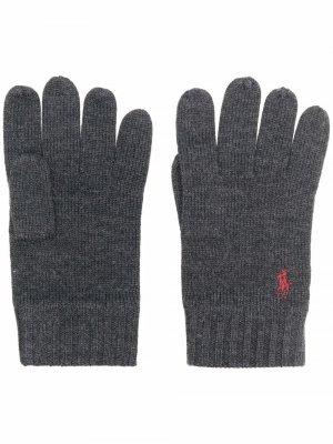 Шерстяные перчатки с вышивкой Polo Pony Ralph Lauren. Цвет: серый