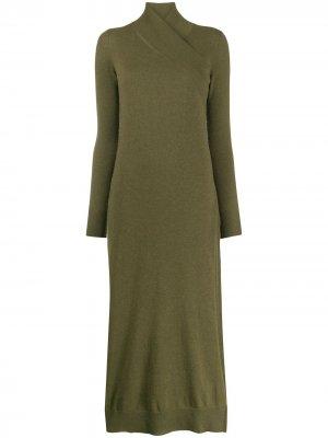 Платье с запахом на воротнике Agnona. Цвет: зеленый