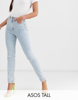 Узкие джинсы в винтажном стиле с завышенной талией, рваной отделкой и эффектом кислотной стирки ASOS DESIGN Tall Farleigh-Синий