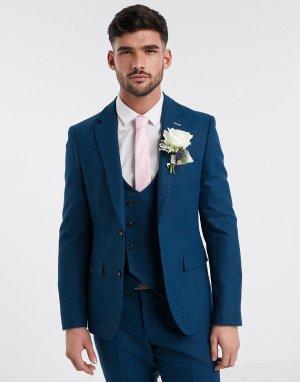Приталенный твидовый пиджак -Голубой Harry Brown