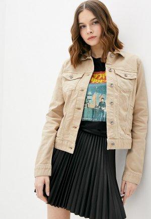 Куртка джинсовая Tom Tailor. Цвет: бежевый