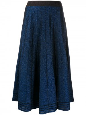 Юбка со складками и эффектом металлик Karl Lagerfeld. Цвет: синий