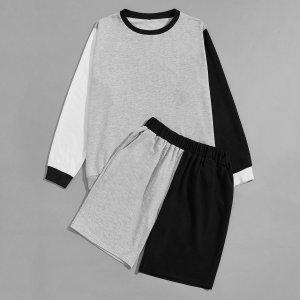 Мужской контрастный свитшот и спортивные шорты SHEIN. Цвет: многоцветный