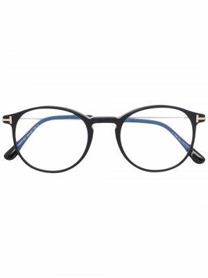 Очки в круглой оправе TOM FORD Eyewear. Цвет: черный