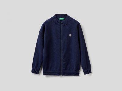 Кардиган из 100% хлопка Benetton. Цвет: синий