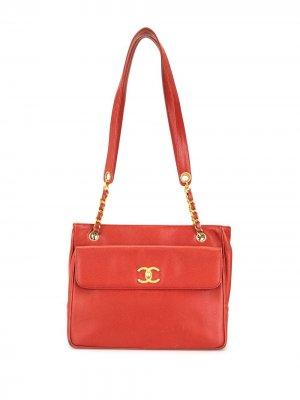Сумка на плечо с логотипом CC Chanel Pre-Owned. Цвет: красный