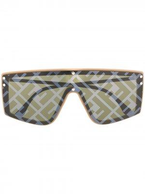 Солнцезащитные очки с монограммой Fendi Eyewear. Цвет: нейтральные цвета