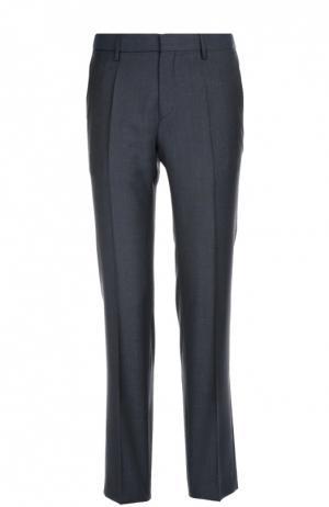 Классические шерстяные брюки в клетку BOSS. Цвет: темно-синий