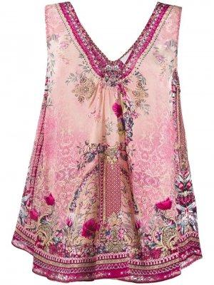 Блузка без рукавов с принтом Camilla. Цвет: розовый