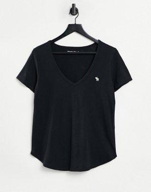 Черная футболка с логотипом, короткими рукавами и V-образным вырезом -Черный цвет Abercrombie & Fitch