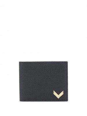 Бумажник с металлическим логотипом Manokhi. Цвет: черный