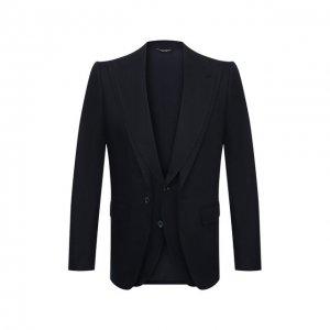 Льняной пиджак Dolce & Gabbana. Цвет: синий