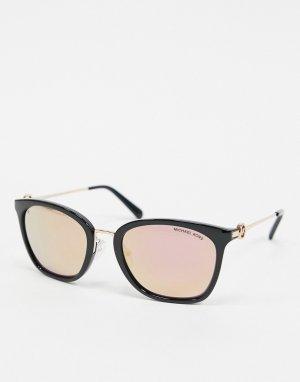 Солнцезащитные очки в черной оправе с золотисто-розовыми стеклами -Черный Michael Kors
