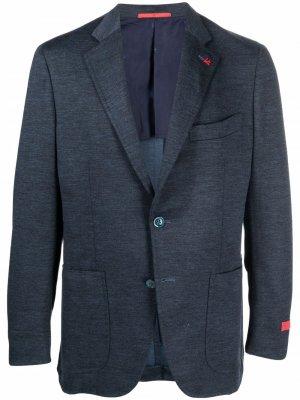 Однобортный пиджак строгого кроя Isaia. Цвет: синий