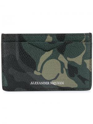 Визитница в камуфляжный принт Alexander McQueen. Цвет: зелёный